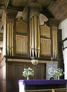 The old organ case (1737) placed in the north aisle 1889.